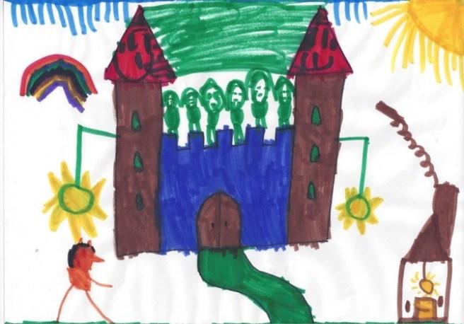"""Magdalena's first masterpiece: Vor der Burg steht Magdalena (man beachte Nasen und Ohren), auf der Burg sind """"lauter Martinas"""""""