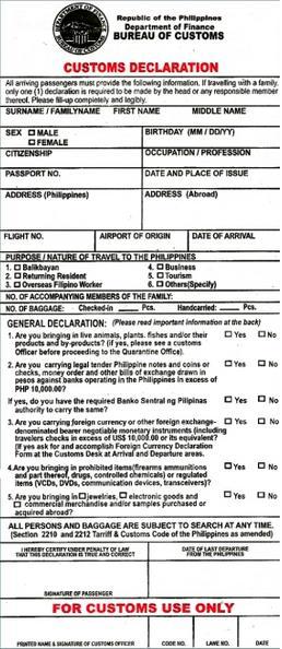 Customs Declaration PH – Philippines Information