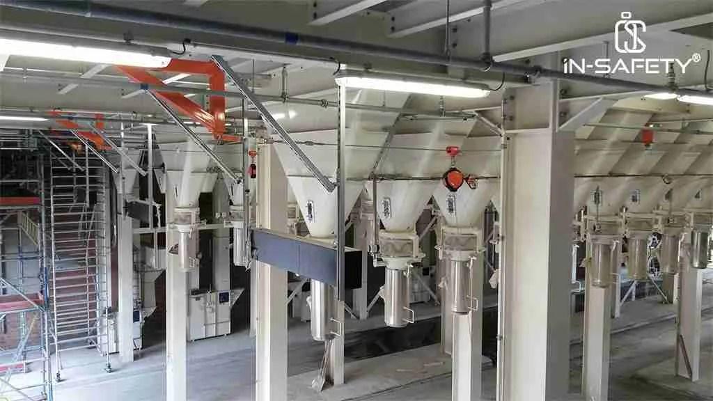soluzioni anticaduta - linee vita flessibili su macchinari e silos