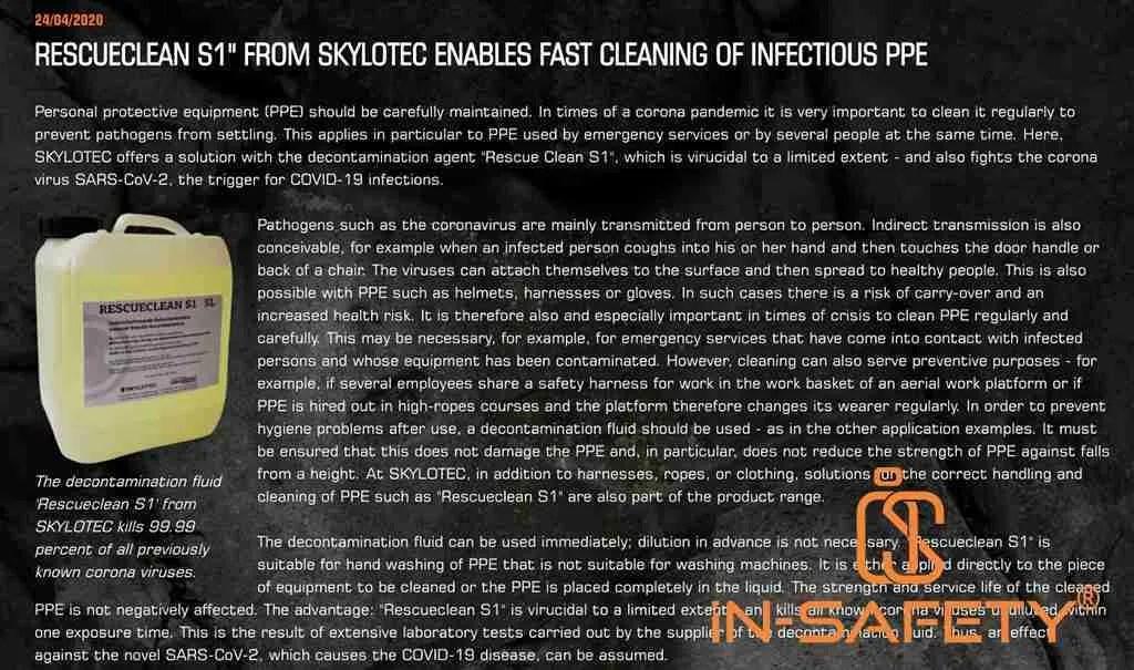 pagina web Skylotec sul loro prodotto per sanificazione dei dpi