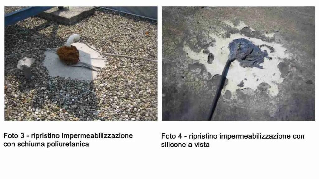 Due foto che mostra un non corretto ripristino impermeabilizzazione: a sinistra con schiuma poliuretanica marrone e a destra con silicone grigio