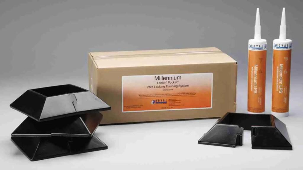 Immagine di un kit Millennium Lockin' Pocket per ripristino impermeabilizzazione composto da converse in poliuretano nero e tubi di sigillante con etichetta arancione