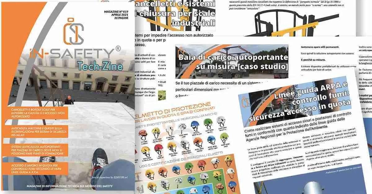 Collage di insieme copertina e pagine interne IN-SAFETY® Tech-Zine Magazine