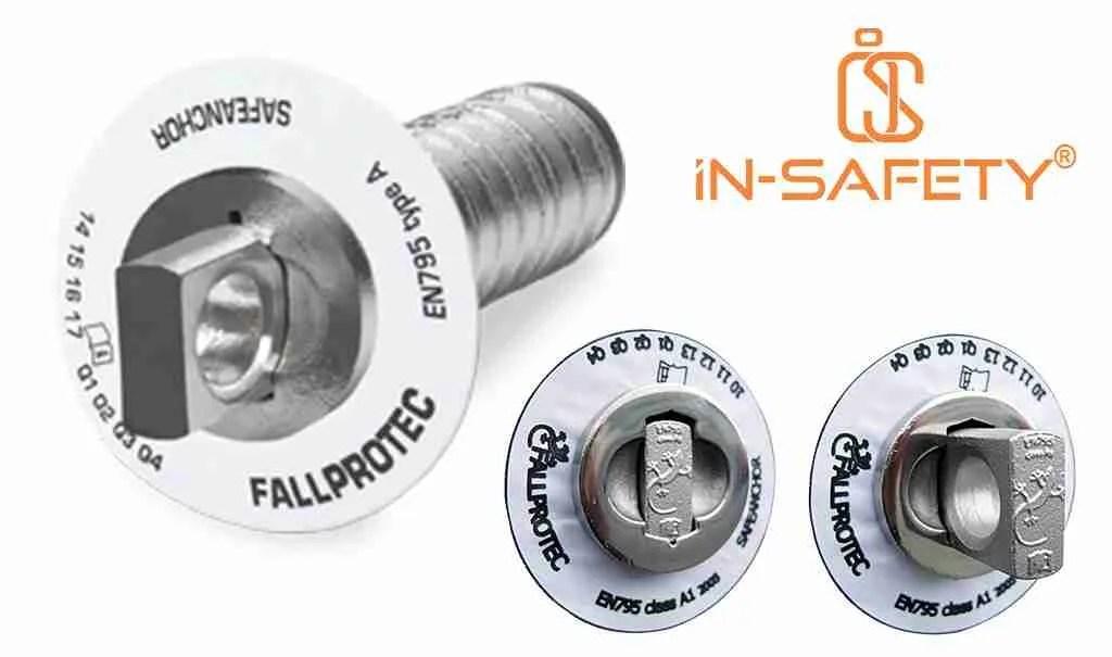 SafeAnchor di FALLPROTEC: vista d'insieme e dettaglio delll'aspetto da aperto e da chiuso