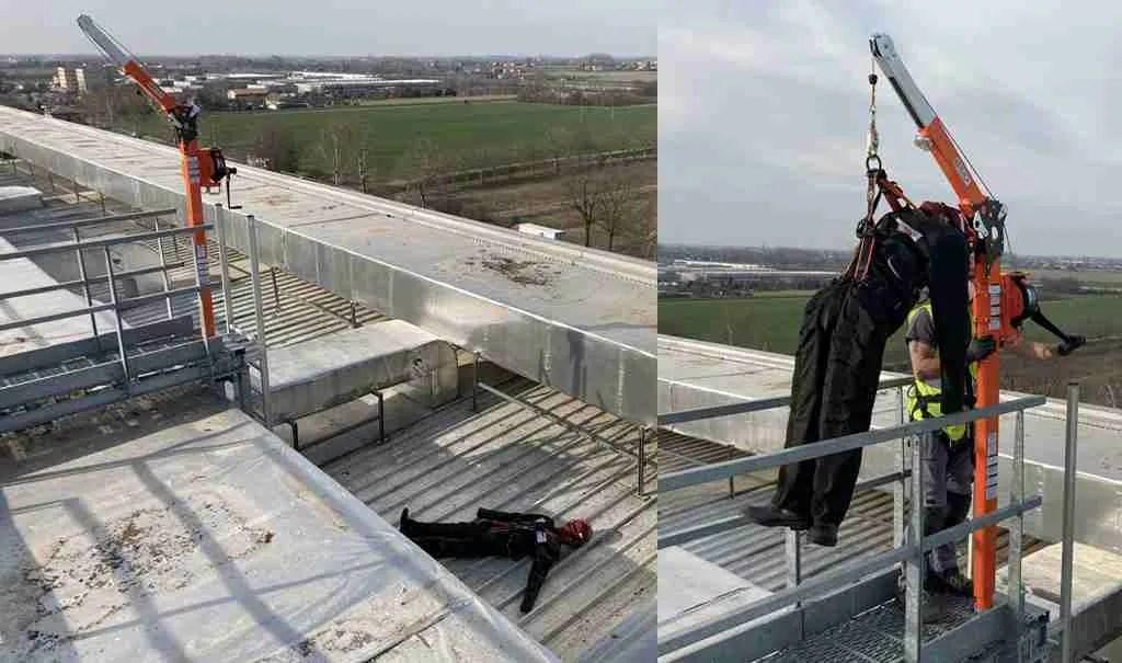 Fasi dei test di funzionalità delle operazioni Entry Rescue sulla copertura del magazzino automatico