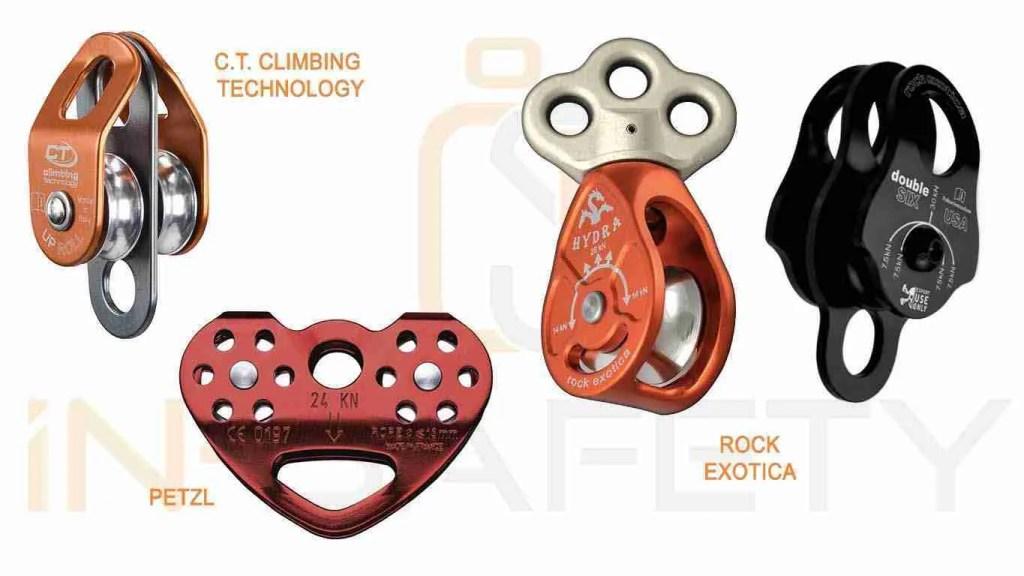 Carrucole professionali ad uso alpinistico a doppia puleggia, in linea o parallele, e multiplo attacco