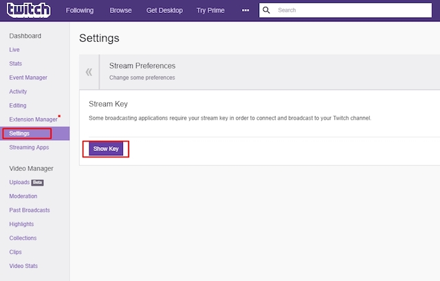 Twitch Stream Key