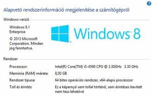 Számítógép Windows 8.1 rendszer tulajdonságok