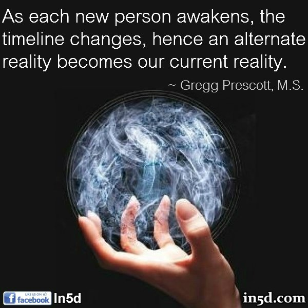 As each new person awakens, the timeline changes, hence an alternate reality becomes our current reality.