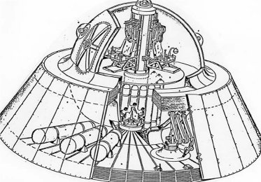 "This is a cutaway illustration of the backward engineered ""Alien Reproduction Vehicle,"" or ""Fluxliner,"" as it is sometimes called. The crew compartment is a composite sphere surrounded by a large coil of copper-colored wire embedded in a greenish, glass-like material. The central column holds the secondary windings of this very large Tesla Coil device. The base of the vehicle is about 7.3 meters in diameter and is made up of 48 individual asymmetric plate capacitor sections, each having eight plates. By varying the amount of electricity pulsed at each section from the central column, and exploiting the Biefield Brown Effect, maneuvering control can be achieved."
