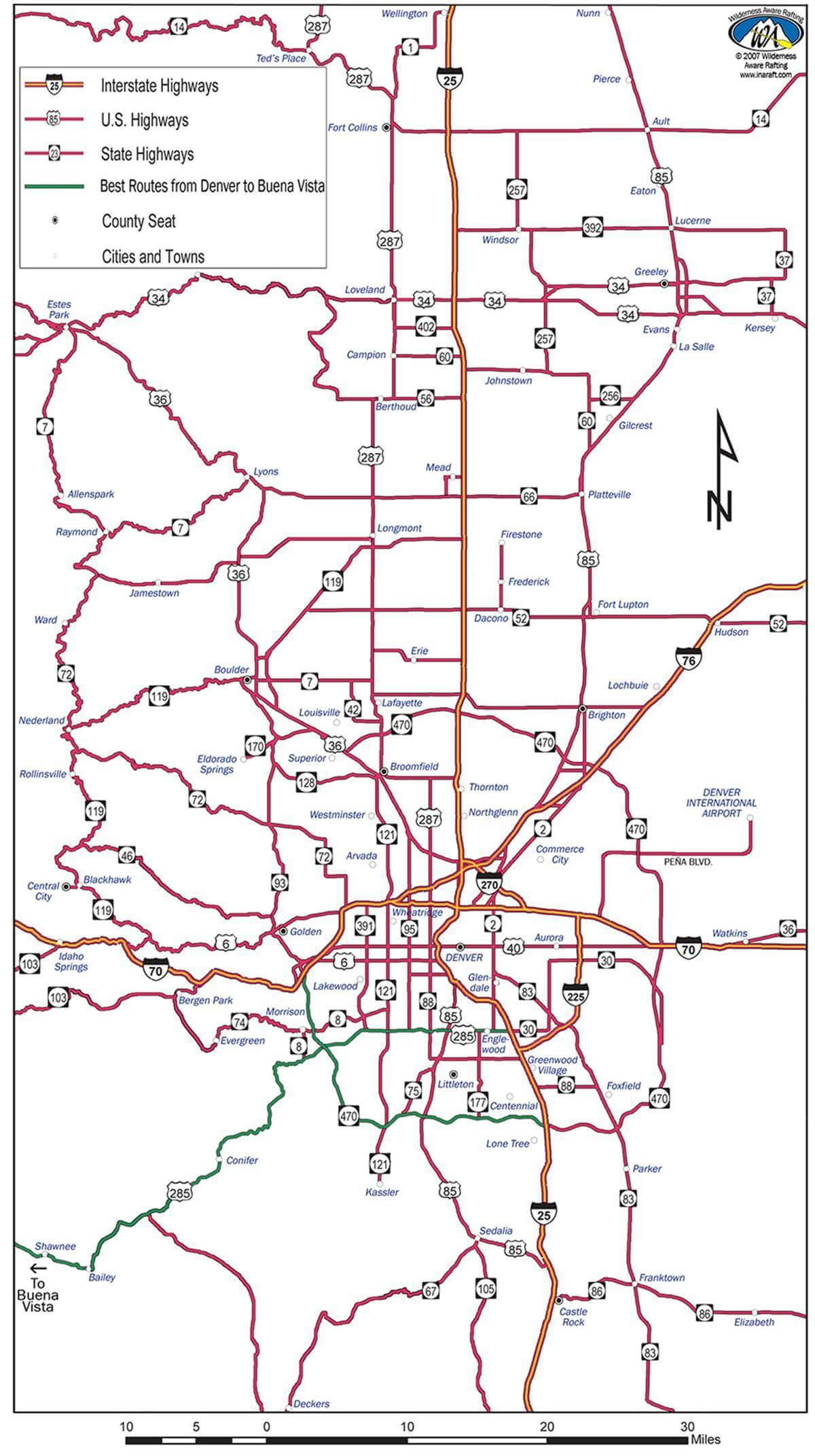 Denver Colorado Highway Road And City Map Inaraft Com