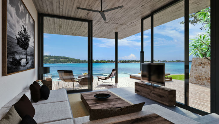 Living area of the ocean view suite at BASK Gili Meno