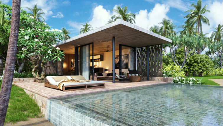 Suite accommodation at BASK Gili Meno, private pool, outdoor living with open plan living
