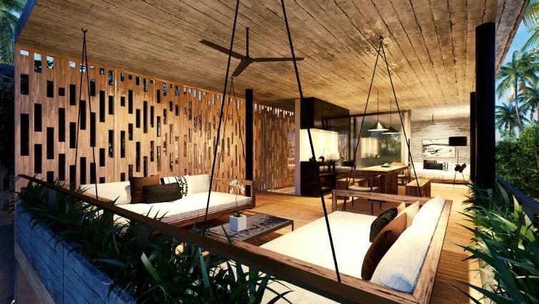 Loft accommodation at BASK Gili Meno. Lounge area.