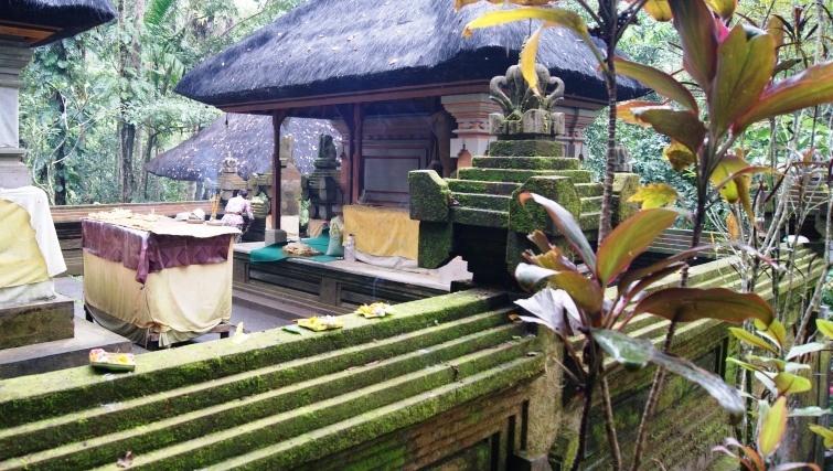 The working buddhist temple below Goa Gajah. Photo credit Geoff Vivian