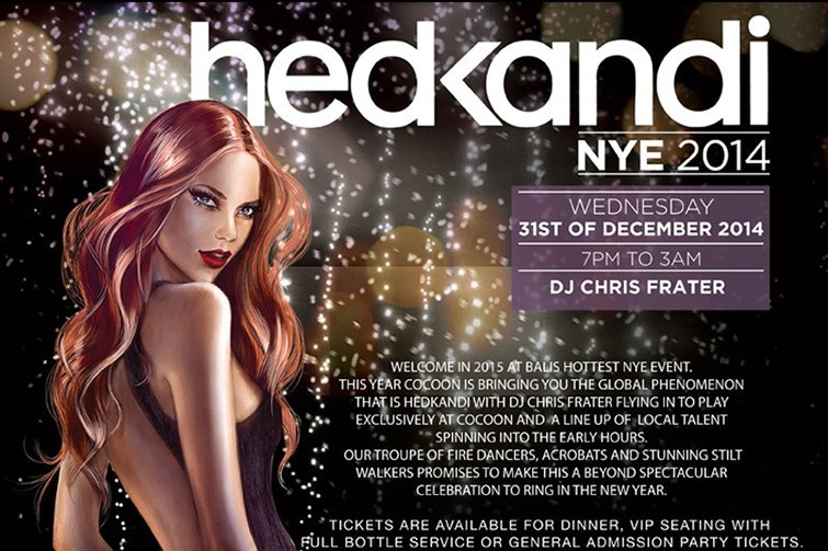 Hedkandi at Cocoon Beach Club NYE 2014 poster