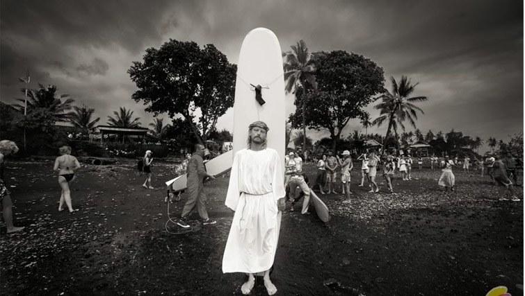 Surfer in a Jesus costume at SurfJam 2014