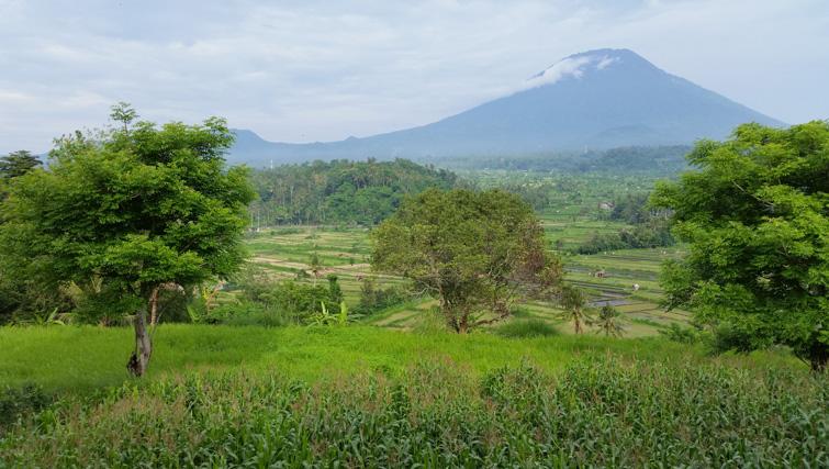 View from Bali Asli Restaurant on Mount Agung.