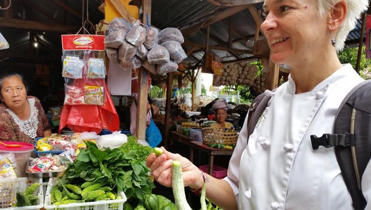 At Amlapura Market with Penny Williams