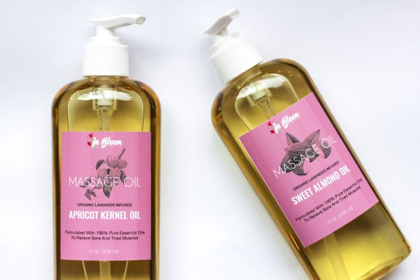 2 bottles of massage oil lavender infused organic, made by in bloom homestead
