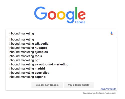google suggest para buscar palabras clave