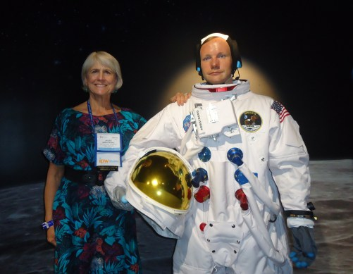"""""""One small step for Laurie Armstrong, director of media relations, U.S. and Canada, for the San Francisco Travel Association and the late astronaut Neil Armstrong, at Madame Tussauds, at I Drive-360 in Orlando."""