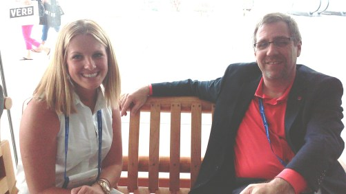 Moving to the grand foyer outside the exhibit floor, two U.S. suppliers discuss business: Emily Milligan, senior manager, Student & Youth Travel Association (SYTA), and Rich Goldstein, general manager, Big Bus tours of Washington, D.C.