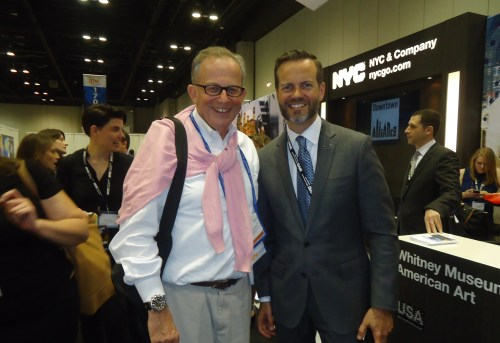 Jake Steinman (left), founder and CEO of the NAJ Group, stops to visit Fred Dixon, president and CEO ofNew York City & Company at the NYC & Co. booth.
