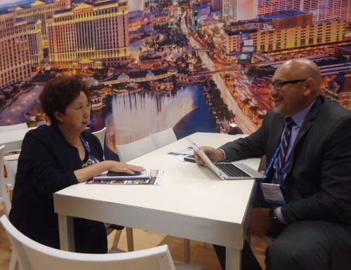 Gloria Lan, president of Tour America, a major Los Angeles-based receptive tour operator, meets with Rafael Villanueva, senior director of international sales for the Las Vegas Convention and Visitors Authority.