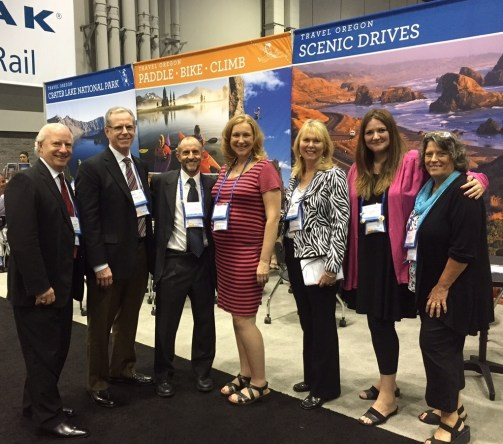 (B)—How many people can you fit into a photo? (Left-Right) Scott Hartcorn, Shilo Inns; Brian McCartin, executive vice president, convention & tourism sales, Travel Portland; Jorge Cazenave, NTA chairman; Lisa Itel, global sales manager, Travel Oregon; Pam Inman, NTA president; Heather Anderson, travel trade manager, Travel Portland; and Meg Trendler, tourism sales manager, Eugene Cascades & Coast. Submitted by Lisa Itel