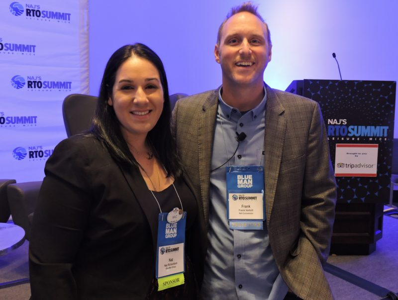 "Naz Richardson (left), group sales coordinator, Blue Man Group, Universal Orlando Resort, gets together with Frank Vertolli, co-founder, Net Conversion, just prior to Vertolli's presentation on ""How to Increase your Website and Social Media Traffic from Key International Markets by Understanding the Media Landscape."""