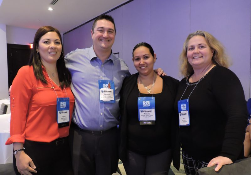 Gathering together to give us a smile during a break in the action are (left-to-right): Janete Beaghley, receptive operations. Grupo Trend; Benjamin Maddy, director of travel & tourism sales at the Madison Square Garden Company; Michelle Perez-Farinha, business development, Grupo Trend; and Ann Pilcher, tourism sales manager at the Pocono Mountains CVB.