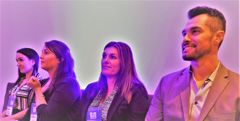 "Waiting for their turn to make a three-minute presentation before a panel of judges who will make an evaluation of what they say—in a ""Shark Tank"" format—are (left-to-right): Lauren Paffenback, travel trade sales executive-international, Merlin Entertainments; Jennifer Edwards, senior sales manager, Midway Attractions North America Merlin Entertainments; Claudia Cianfero, travel industry sales manager, Naples Marco Island and Everglades CVB; and Adam Morales, sales manager, leisure and business travel, worldwide sales, Best Western Hotels and Resorts."