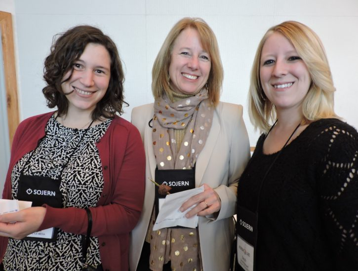 (Left to right) Camille Zess, consultant, Break the Ice Media; Ann M. Campbell, marketing and communications manager, Corning Museum of Glass; and Sarah Blackwell, Break the Ice Media