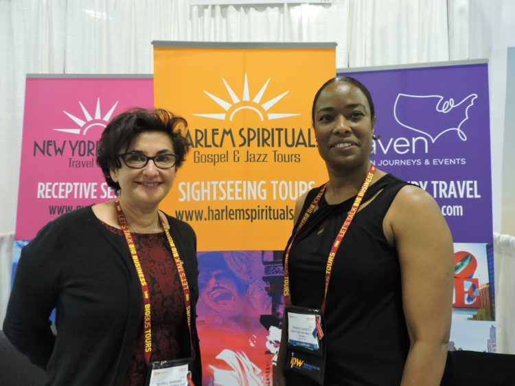 Muriel Samama (left), whose portfolio includes receptive services, Harlem Spirituals Gospel and Jazz Tours and now, Maven American Journeys and Events, which features MICE and luxury product; and her long-time vice president, Erika Elisabeth.