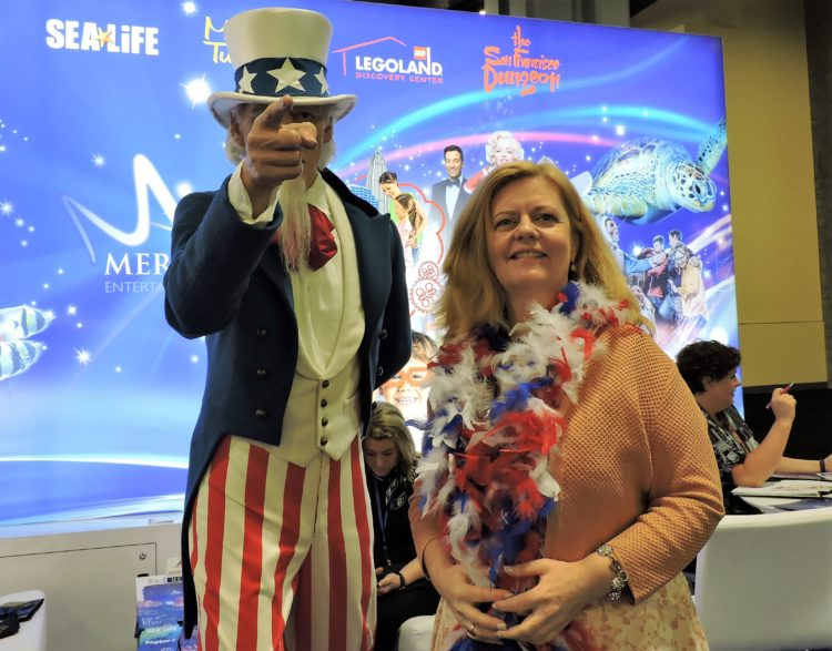 With Uncle Sam is Sheelagh Wylie vice president, business development & head of sales, Midways Attractions, North America, Merlin Entertainments.