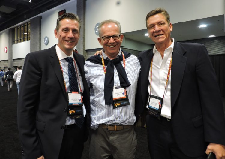 Jake Steinman, founder and CEO of the NAJ Group, which publishes the INBOUND Report, is flanked by City Tours USA President Ray Thomas (right) and his brother, Eric Thomas, who joined the company booth for IPW 2017.