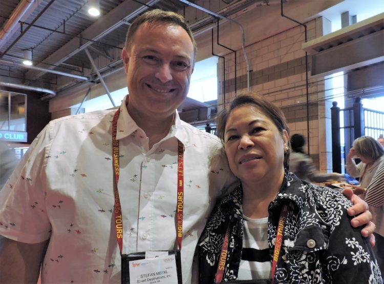 Stefan Merkl, founder and CEO of Explore Marketing, with Noreen Valera, director of sales, San Francisco Helicopters.