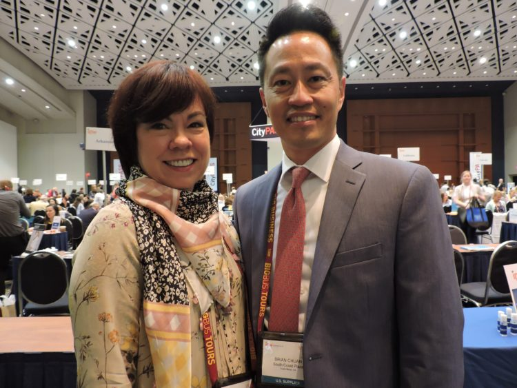 Debra Gunn Downing, executive director, marketing, South Coast Plaza; and Brian Chuan director of travel trade development, South Coast Plaza.
