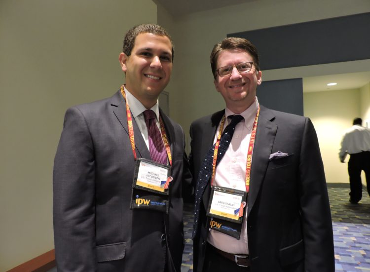 Greg Staley (right), US Travel's senior vice president, communications; and Michael Jacobson, director, industry relations and political engagement for the organization.