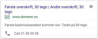 Gammel annonse som ikke utnytter alle tegene i Google Ads