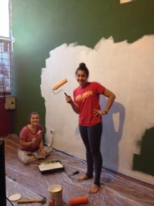Priming the big green wall! (Painting my apartment!)
