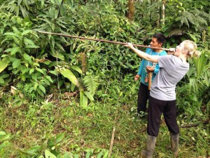 One of our interns shooting a blow gun - typical of the Ecuadorian jungle.