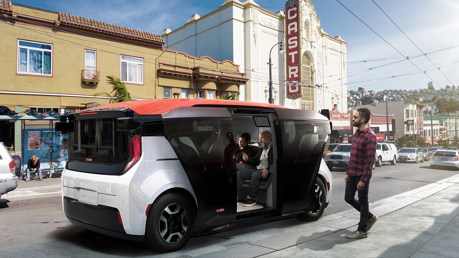 Cruise Origin, a self-driving shuttle van without steering wheel or pedals