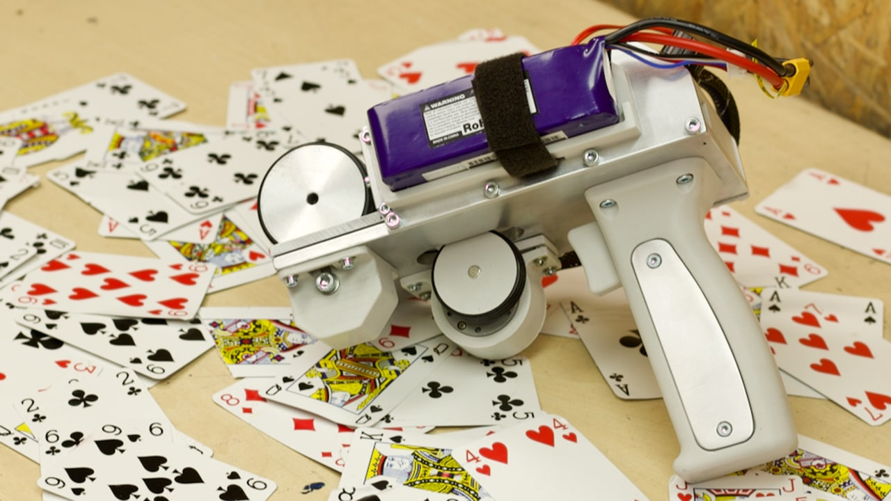 A YouTuber creates a gun capable of shooting playing cards at 120mph