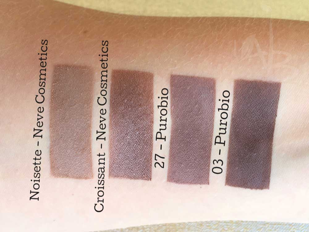 Swatches ombretti marroni Purobio vs Neve