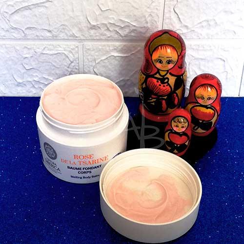 Packaging primario crema corpo alla rosa di Natura Siberica.