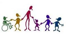Inclusive - inclusão - várias figuras multicoloridas de mãos dadas: um cadeirante, um muito alto, um muito baixo e outros olhando para direções diversas