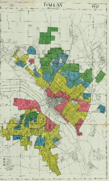 HOLC redline map of Dallas 1937