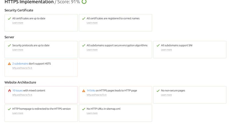 HTTPS content, seo audit